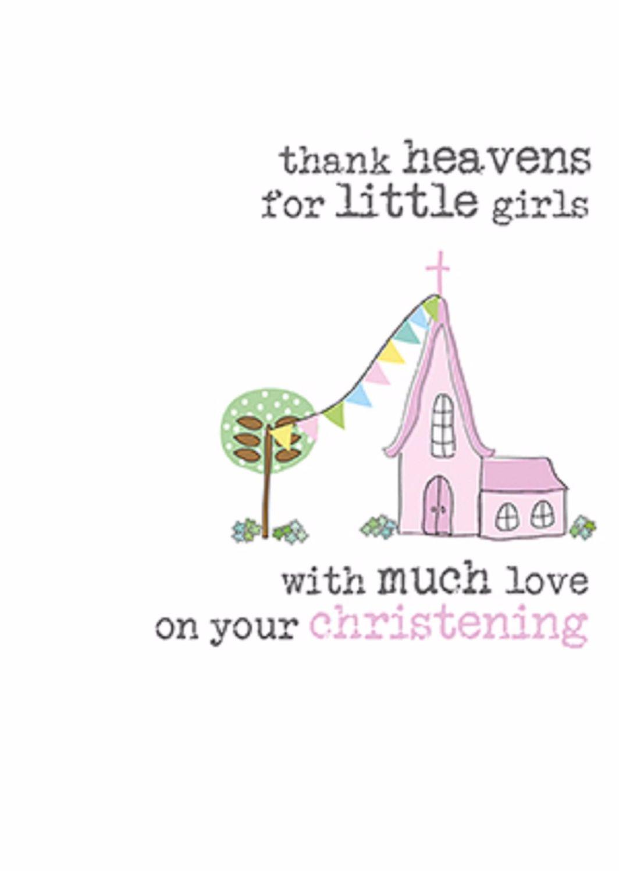 Thank Heavens Christening card - Girl