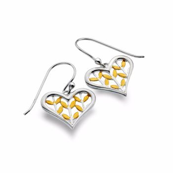 Sterling Silver Gold Plated Leaf Design Earrings