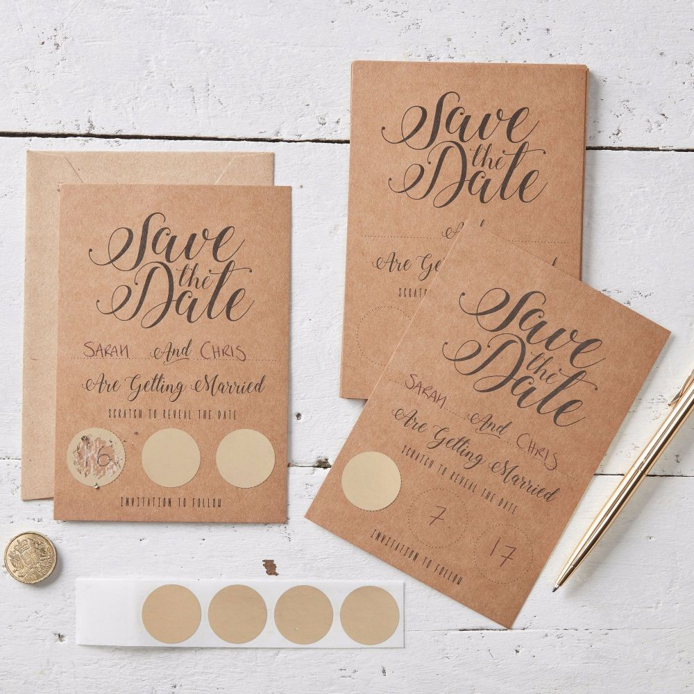 Scratch and Reveal Save the Date Cards - Pack of 10