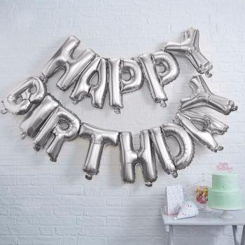 Ginger Ray Happy Birthday Silver Balloon Bunting