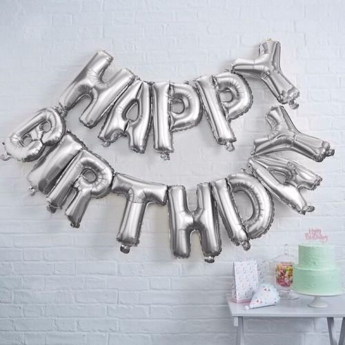 Ginger Ray Happy Birthday Silver Balloon Bunting
