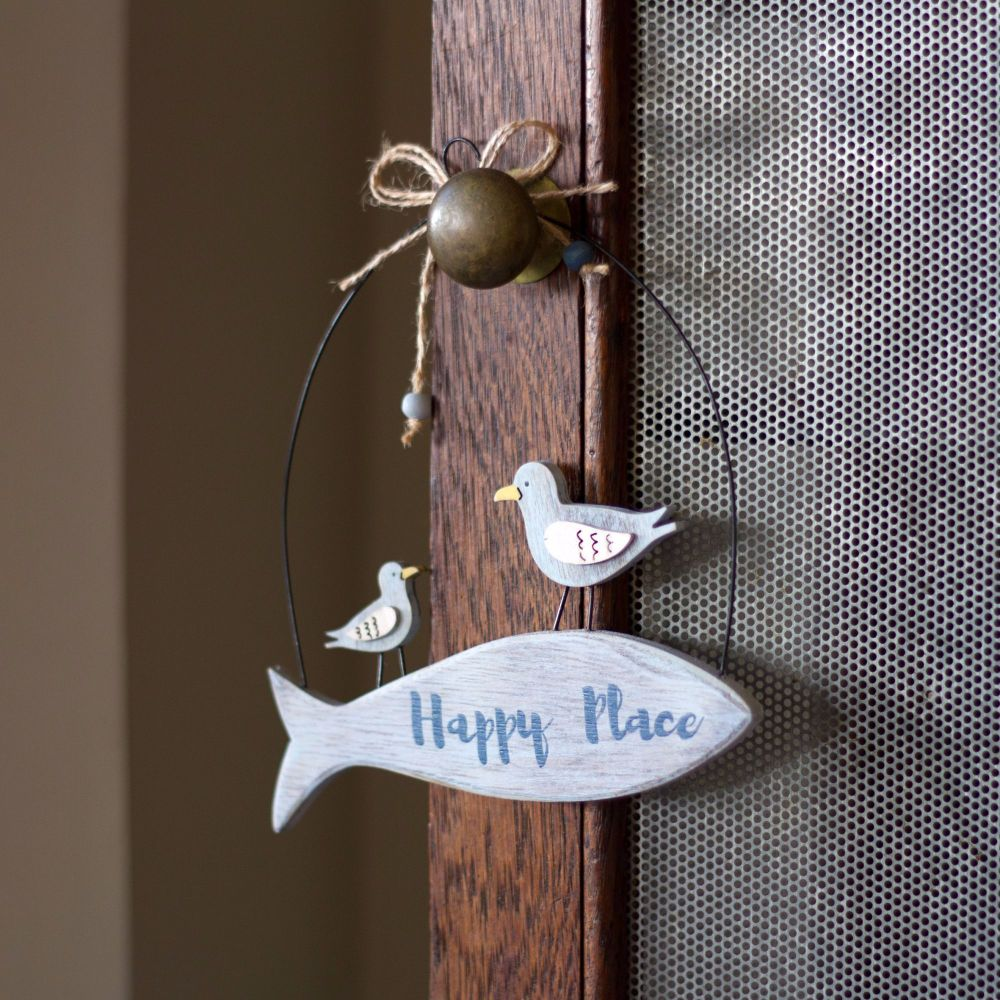 Gulls on 'Happy Place' Fish Hanger