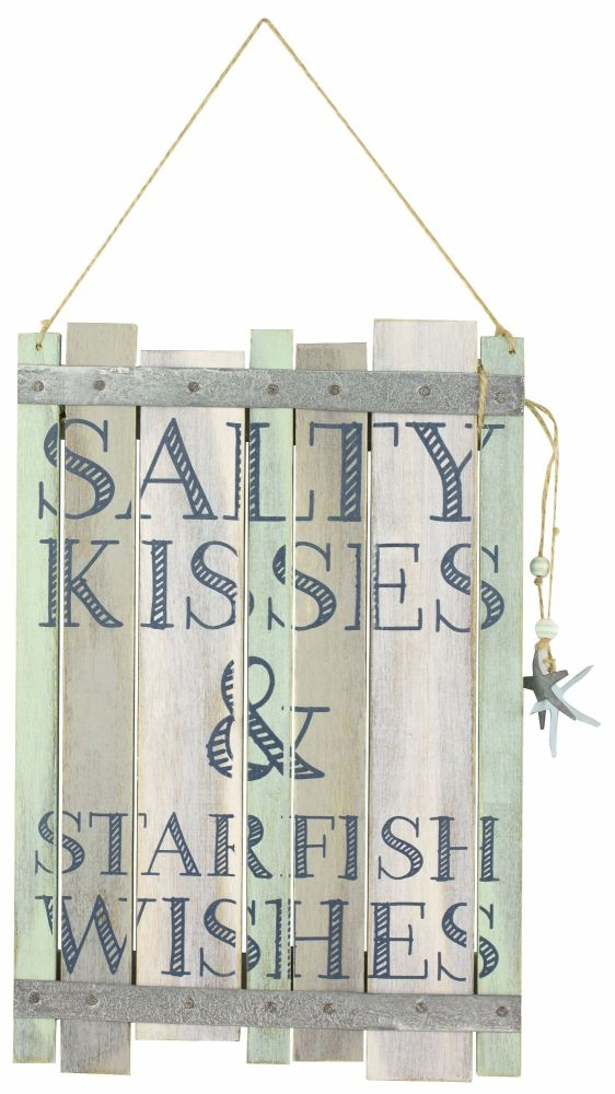 'Salty Kisses and Starfish Wishes' Beach Wooden Sign