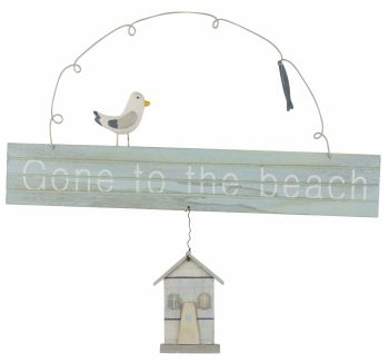 'Gone to the Beach' Hanging Sign with Gull and Hut.