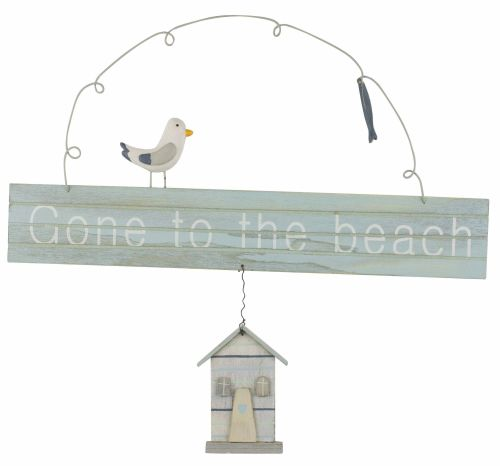 'Gone to the Beach' Hanging Sign with gull.