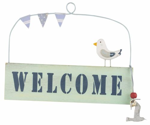 'Welcome' Hanging Sign with Gull and Bunting Design