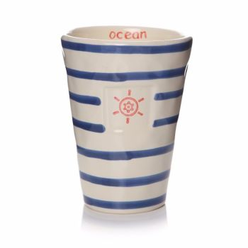 Blue and White Stripe Ceramic Tumbler
