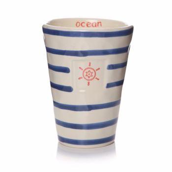 Blue and White Stripe Ceramic Tumbler