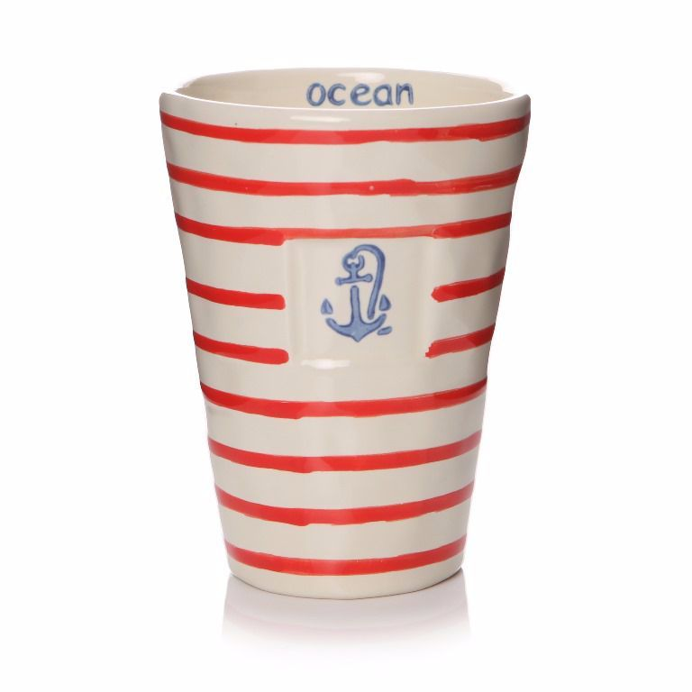 Red and White Striped Ceramic Tumbler