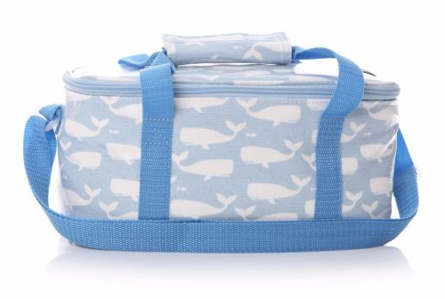 Blue and White Whale Print Oilcloth Cool Bag