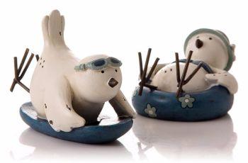 Set of Two Seaside Bird Ornaments