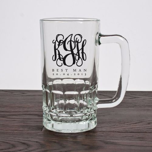 Monogrammed Best Man Glass Tankard