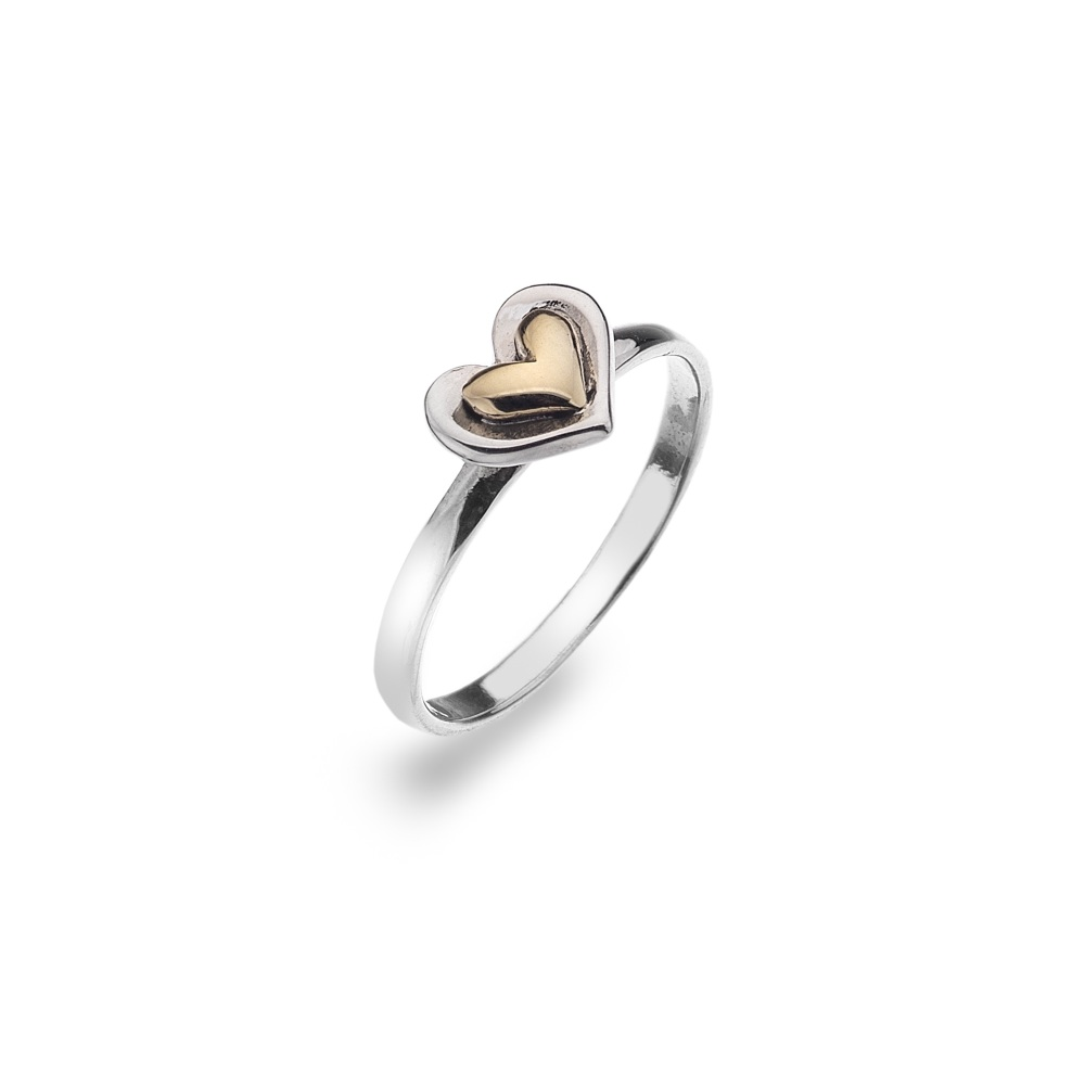 Sterling Silver Ring with Brass Heart Design