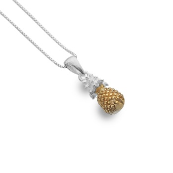 Sterling Silver and Gold Plated Pineapple Necklace