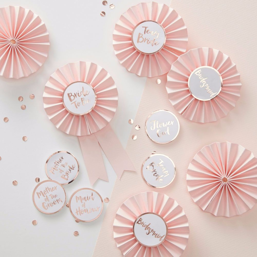 Pink and Rose Gold Hen Party Badges - Set of 6