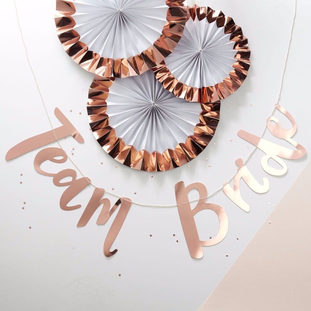 Ginger Ray Rose Gold Team Bride Bunting Backdrop