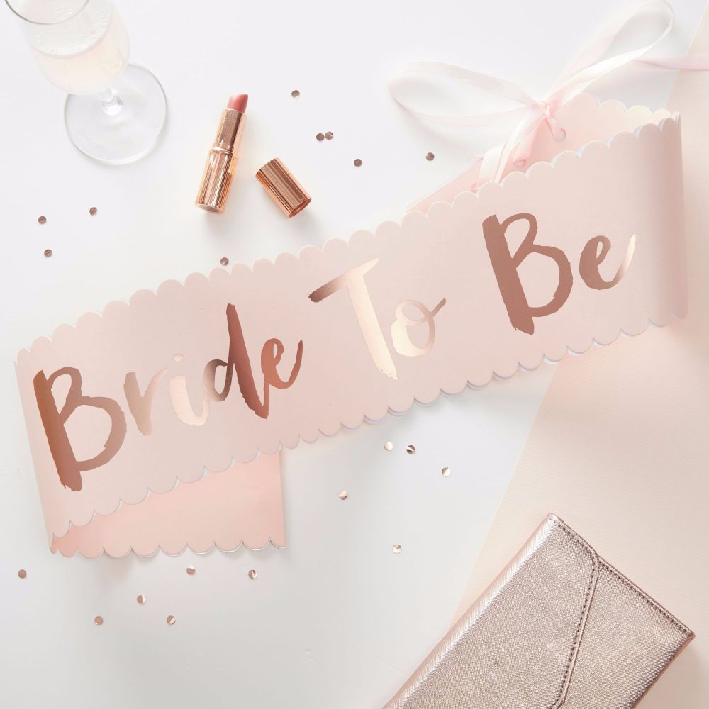 Ginger Ray Pink and Rose Gold 'Bride to Be' Sash