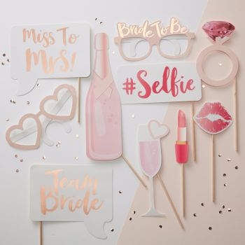 Ginger Ray Hen Party Photo Booth Prop Set - Team Bride