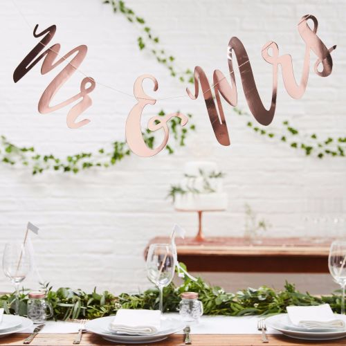 Ginger Ray Rose Gold Mr & Mrs Bunting Backdrop