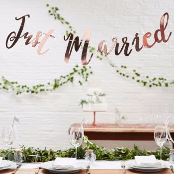 Ginger Ray Rose Gold 'Just Married' Bunting Backdrop