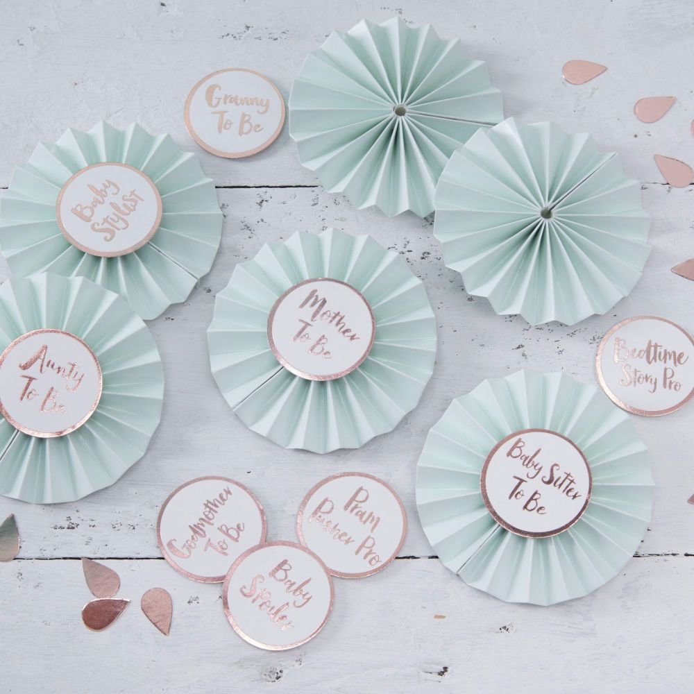 Ginger Ray Mint and Rose Gold Baby Shower Badges -Set of 6