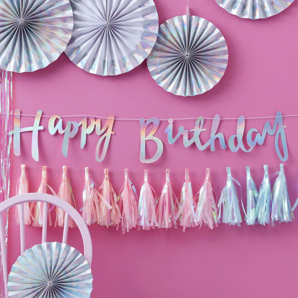 Ginger Ray Iridescent Happy Birthday Bunting Banner