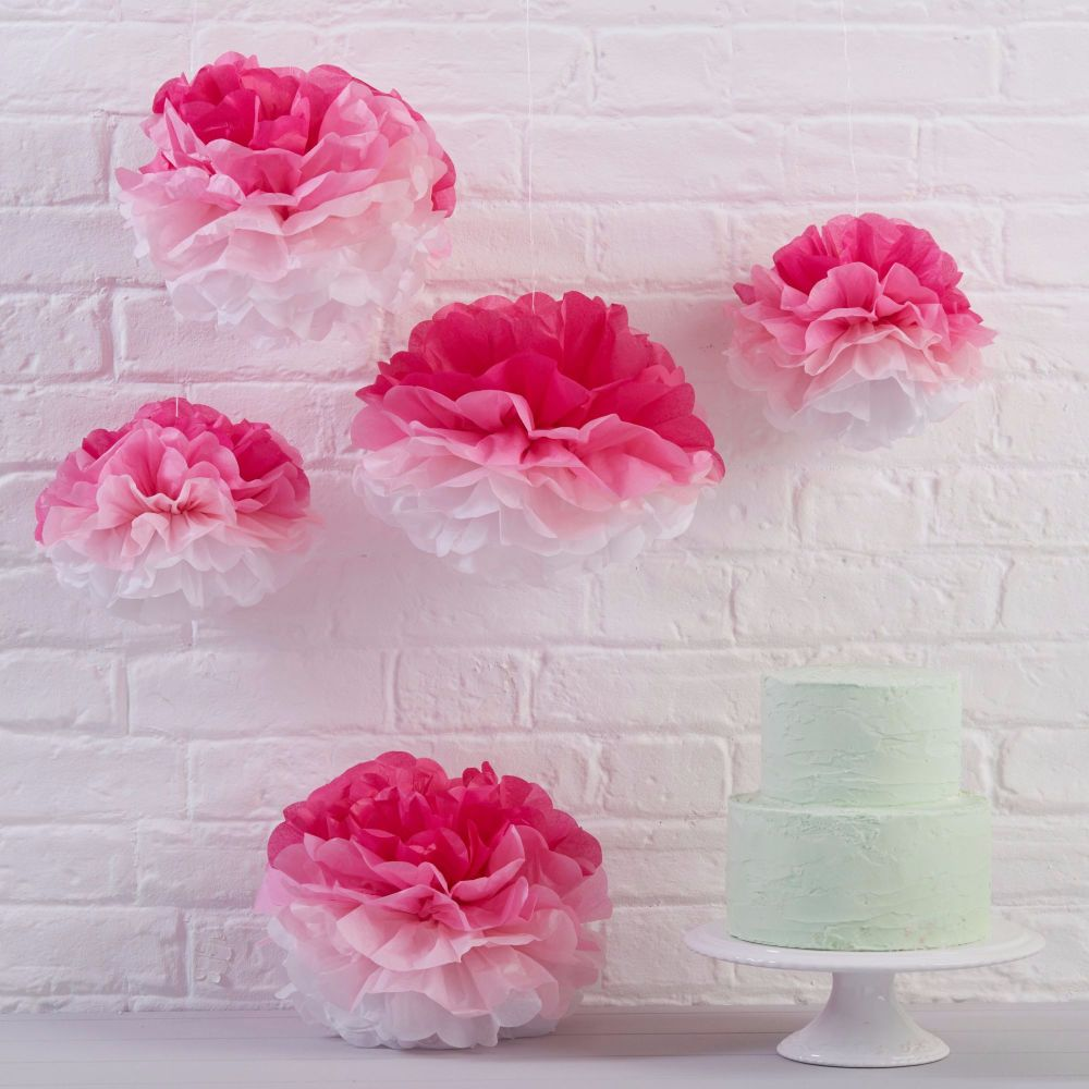 Ginger Ray Pink Ombre Tissue Pom Poms - Set of 5