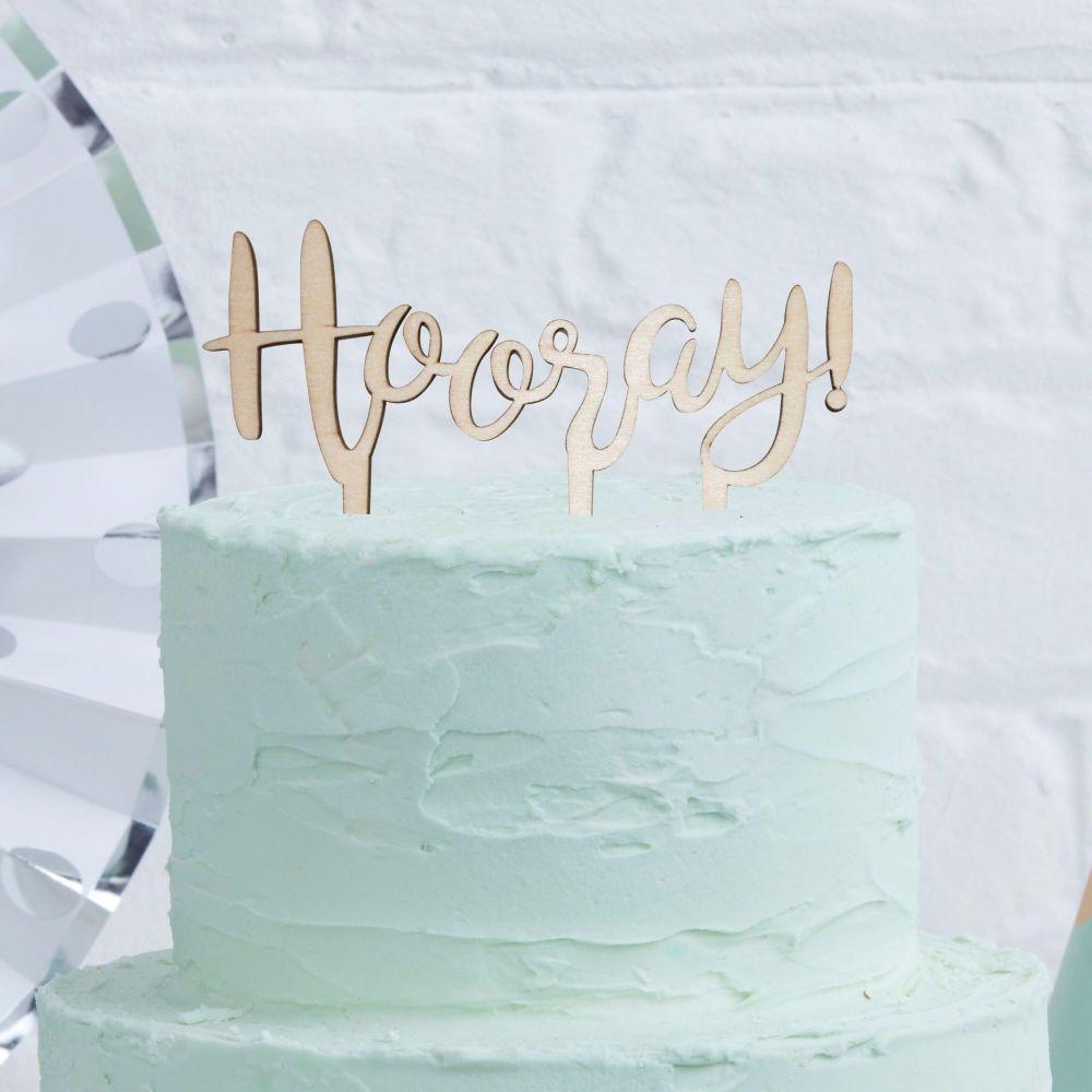 Ginger Ray Hooray Wooden Cake Topper