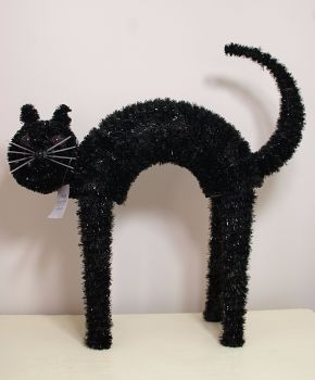 Gisela Graham Black Tinsel Standing Cat Ornament