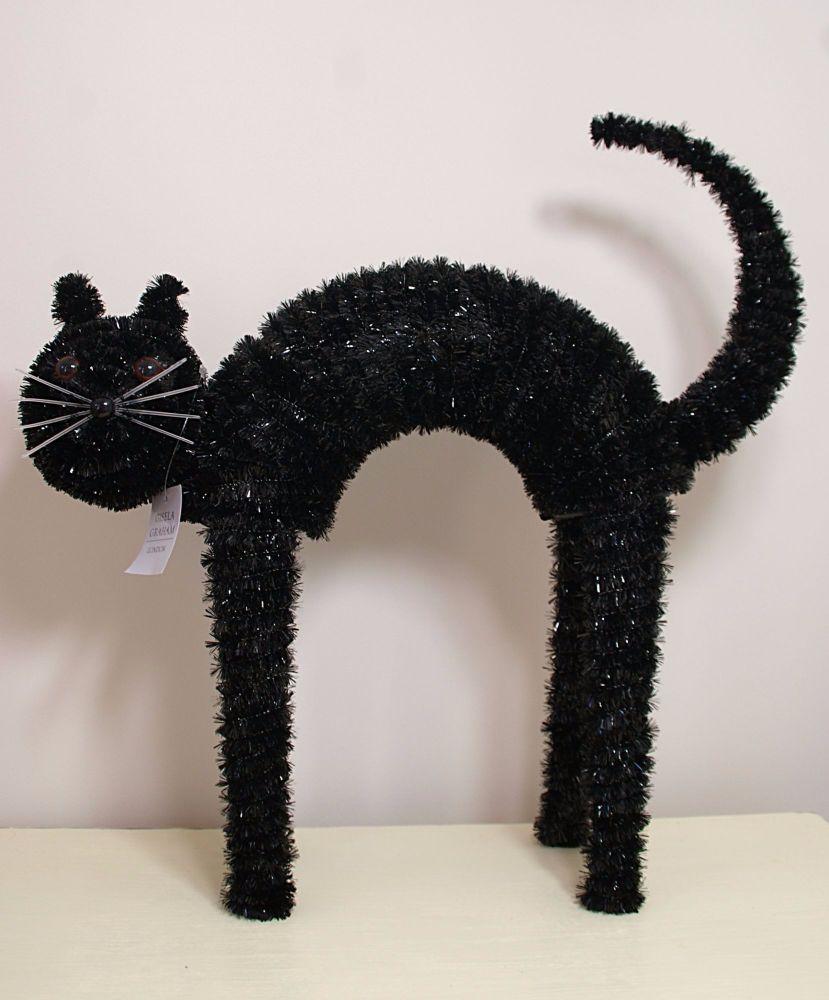 Gisela Graham Black Tinsel Standing Cat Ornament