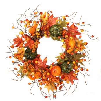 Autumnal Pumpkin and Berry Wreath