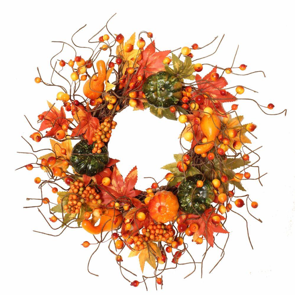 Autumnal Pumpkin and Berry Wreath