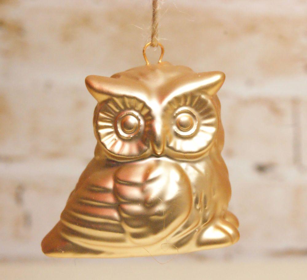 Gisela Graham Small Gold Owl Ornament