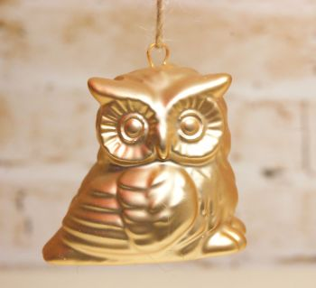 Gisela Graham Small Gold Owl Ornament