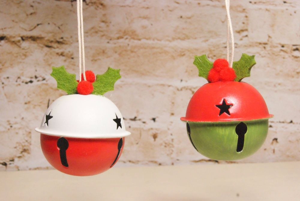 Gisela Graham Red, White and Green Metal Bell with Holly Decoration - 2 Ass