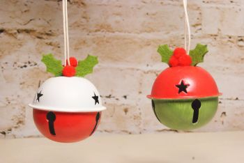 Gisela Graham Metal Bell with Holly Decoration - 2 Assorted