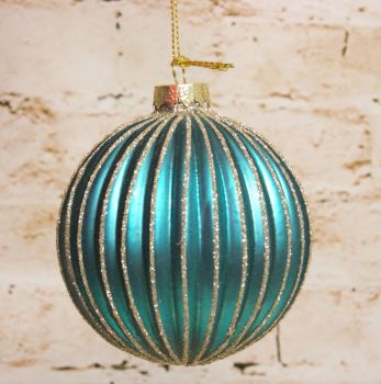 Gisela Graham Glass Turquoise Ribbed Bauble with Glitter Edging.