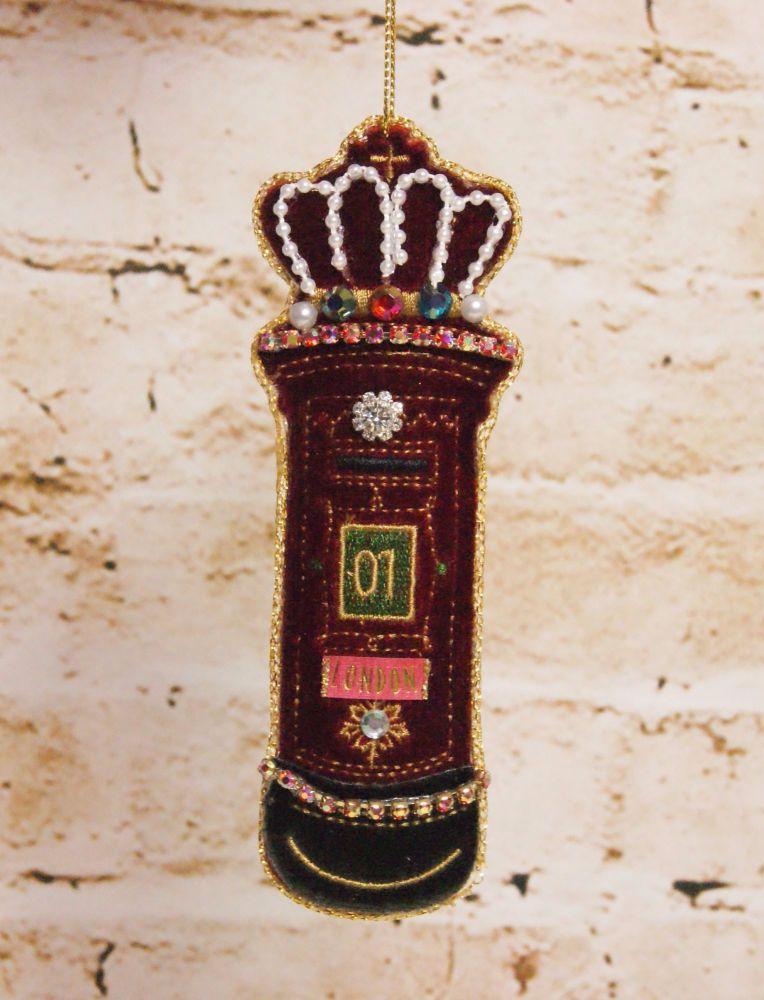Gisela Graham Red Velvet Jewel Letter Box Decoration