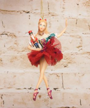 Gisela Graham Clara Figurine Hanging Decoration  - The Nutcracker Collection.