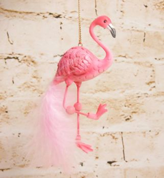 Gisela Graham Resin Flamingo Decoration with Feather Embellishments - The Alice in Wonderland Collection