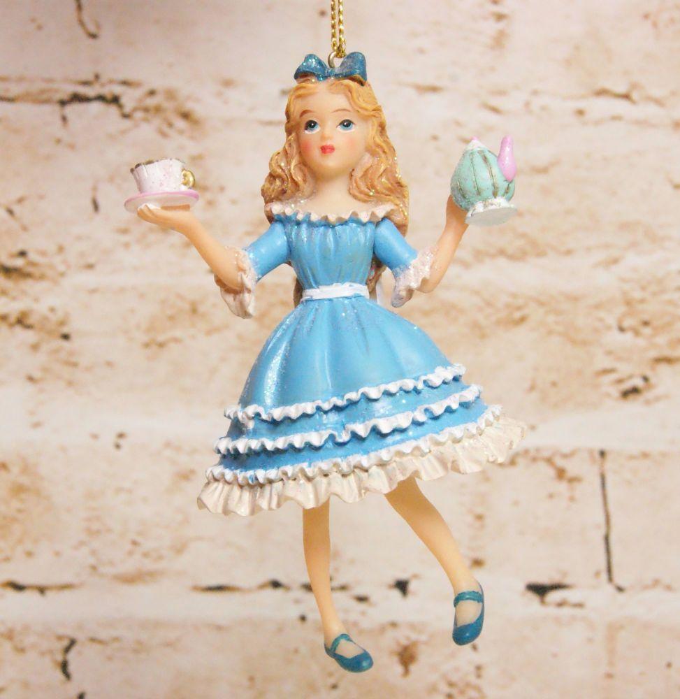Gisela Graham Resin Alice Hanging Decoration - The Alice in Wonderland Coll
