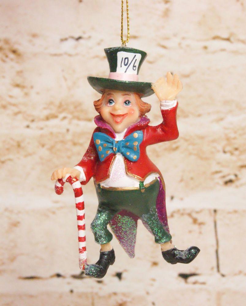 Gisela Graham Resin Mad Hatter Hanging Decoration - Alice in Wonderland Col