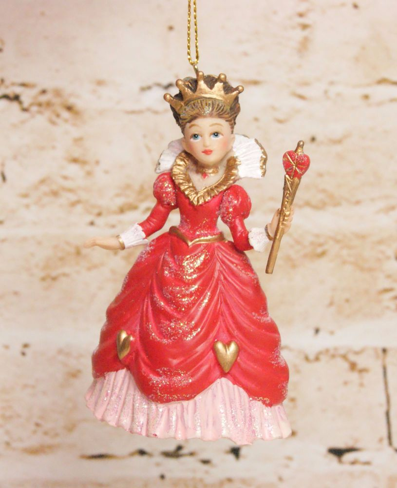 Gisela Graham Resin Queen of Hearts Hanging Decoration - The Alice in Wonde