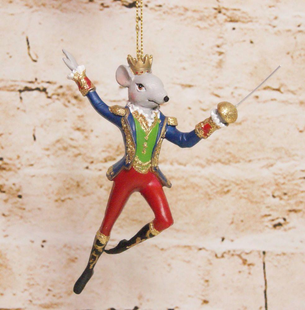Gisela Graham Resin King Rat with Sword Hanging Decoration - The Nutcracker