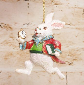 Gisela Graham Resin White Rabbit Hanging Decoration - Alice in Wonderland Collection