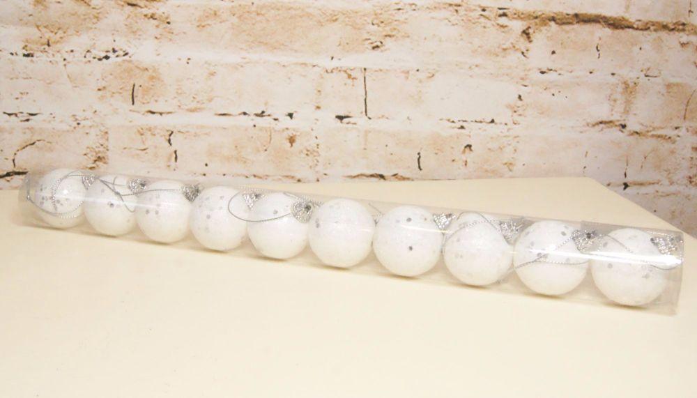 Gisela Garham Tube of Mini White Iridescent Snowball Baubles - Tube of 10