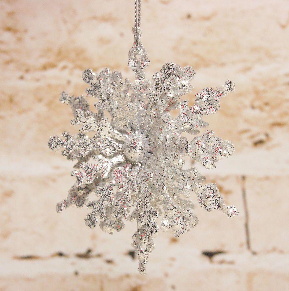 Gisela Graham 3D Silver Glitter Tin Snowflake Hanging Decoration