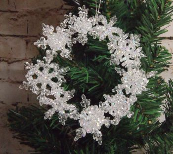 Gisela Graham Iridescent Glitter Snowflake Wreath Hanging Decoration.