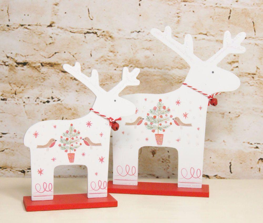 Gisela Graham Wooden Nordic Reindeer Set with Robin Embellishments - Set of