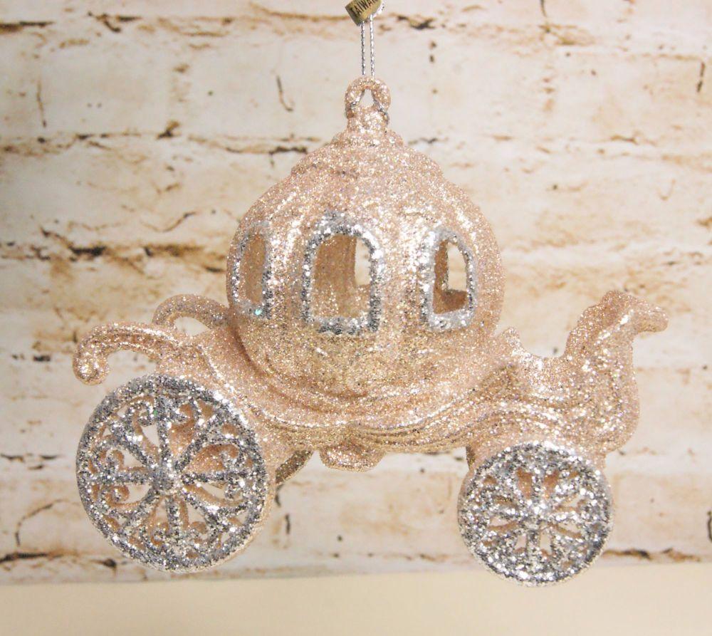 Gisela Graham Cinderella Glitter Coach Hanging Decoration - The Fairytale C